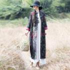 Floral Buttoned Long Jacket