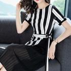 Short-sleeve Striped Mock Two-piece Dress