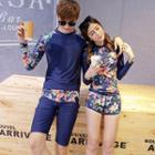 Couple Matching Set: Floral Print Rash Guard + Swim Shorts