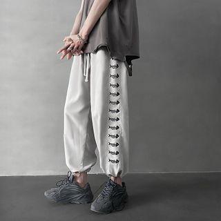 High-waist Fish Bone Embroidered Harem Pants