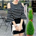 Cutout-shoulder Stripe Panel Sheath Dress Black, White - One Size