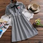 Applique Plaid Short-sleeve Dress