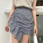 Ruffle Trim Gingham Mini Skirt
