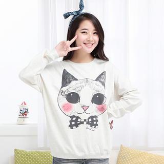 Dolman-sleeve Printed Sweatshirt