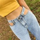 Cutout High-waist Loose-fit Jeans