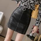 Belted Faux Leather A-line Mini Skirt