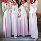 Flower Embroidered Elbow Sleeve Chinese Bridesmaid Dress
