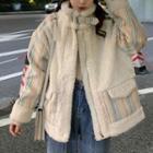 Striped Panel Fleece Jacket