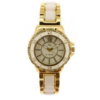 Crystal Covered Wrist Watch Gold & White - One Size