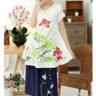 Short-sleeve Frog Button Printed Top