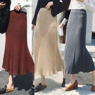 Knit Midi Pleated A-line Skirt