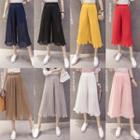 Pleated Chiffon Wide-leg Capri Pants