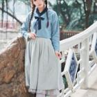 Hanfu Set: Ribbon-neck Shirt + Jumper Dress