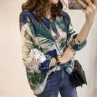 3/4-sleeve Lace Trim Patterned Blouse
