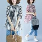 Color-block Striped Collared Short-sleeve Blouse