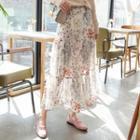 Floral Pattern A-line Maxi Chiffon Skirt