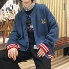Cat-embroidered Knit Cardigan