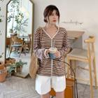 Striped Linen Cardigan Brown - One Size