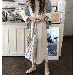 Plain Tie-waist Midi A-line Dress