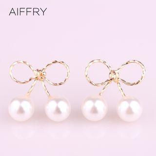 Alloy Bow Faux Pearl Earring