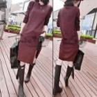 Slit Long-sleeve Knit Dress