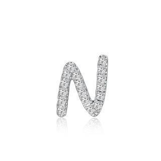 Left Right Accessory - 9k White Gold Initial N Pave Diamond Single Stud Earring (0.04cttw)