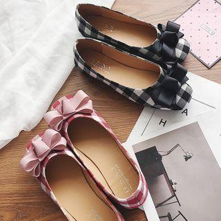 Bow Gingham Flats