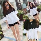 Elbow-sleeve Color Block Ruffle Top