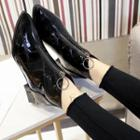 Croc Grain Pointy-toe Patent Ankle Boots