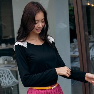 Long-sleeve Lace-panel Top