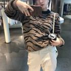 Zebra Patterned Sweater/ Buttoned Cardigan