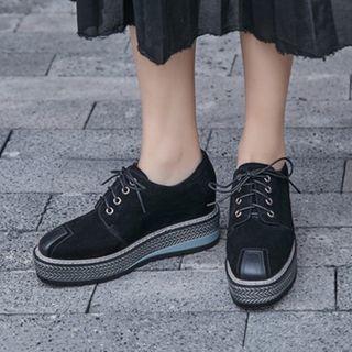 Lace-up Genuine Suede Platform Shoes
