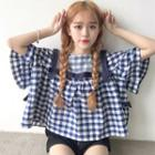 Plaid Bell-sleeve Top