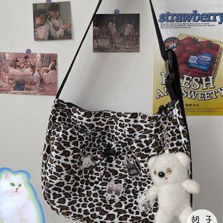 Leopard Print Canvas Messenger Bag