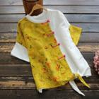 Short-sleeve Floral Frog-buttoned Top