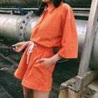 Set: Short-sleeve Print Polo Shirt + Shorts