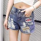 Appliqu  Distressed Denim Shorts