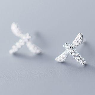 925 Sterling Silver Rhinestone Dragonfly Earring As Shown In Figure - One Size