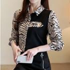 Zebra Print Panel Shirt