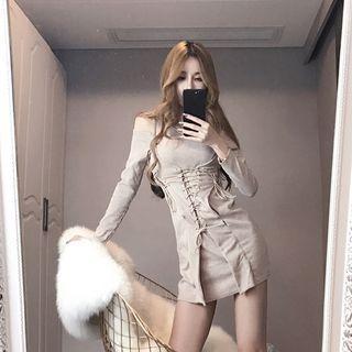 Corset Waist Cut Out Shoulder Long Sleeve Dress