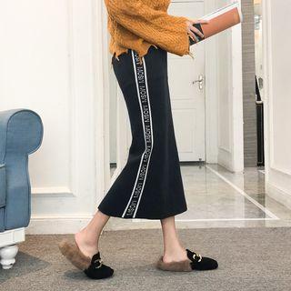 Lettering Knit Midi Straight-fit Skirt White Stripe - Black - One Size