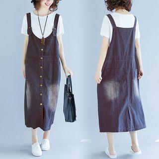 Washed Midi Denim Pinafore Dress