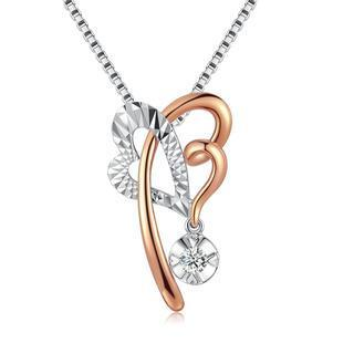 18ct Rose White Gold Textured Heart And Butterfly Diamond Dangle Pendant Necklace (0.09 Cttw) (free 925 Silver Box Chain, 16)