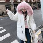 Furry Hood Padded Long Coat