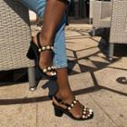 Faux-pearl Kitten-heel Sandals