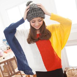 Dolman-sleeve Color-block Knit Top