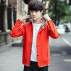 Long-sleeve Hooded Contrast-trim Jacket
