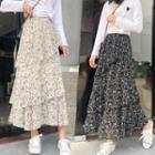 Patterned A-line Frill Trim Chiffon Midi Skirt