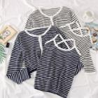 Set: Striped Halter Top + Light Knit Cardigan