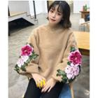 Flower Embroidered Furry Pullover